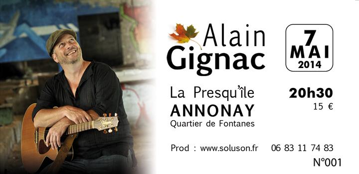 Alain Gignac en concert à Annonay le 7 mai 2014