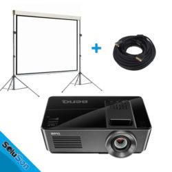 Pack vidéo avec un projecteur, un écran et 2 pied de levage